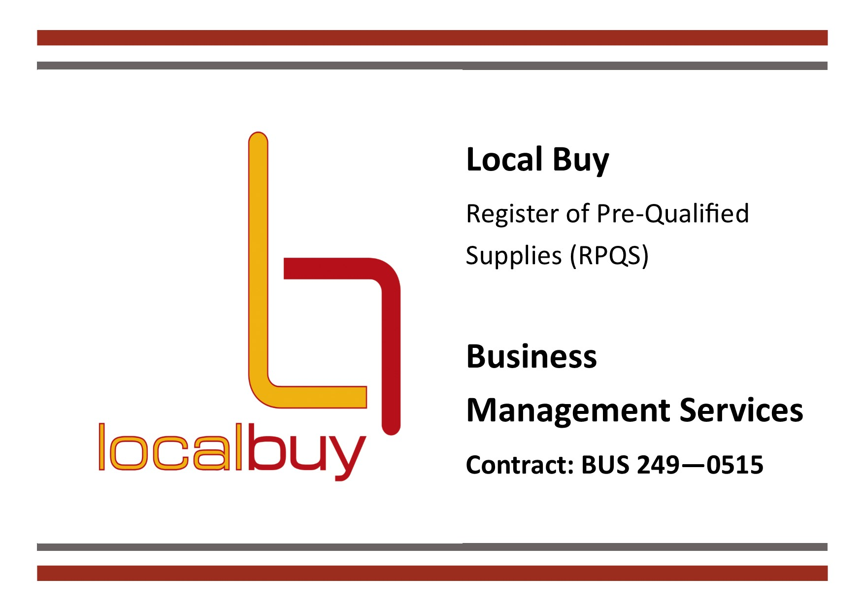 Local Buy Pre-Qualified Supplier – Business Management Services